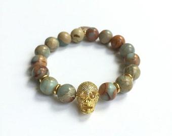Snakeskin Jasper and Pave Skull Bracelet