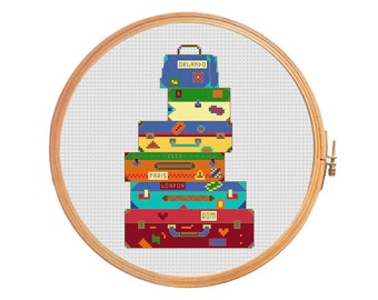 Suitcases - modern cross stitch pattern - trip travels train plane car ship carryon business trip baggage red blue yellow