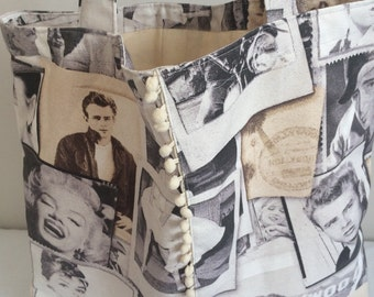 Hollywood famous people tote shopping bag.