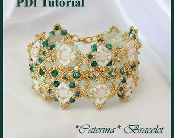 DIY Photo Tutorial Eng-ITA ,*Caterina* bracelet ,PDF Pattern 64 with tila, swarovski ,seed beads,