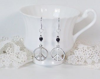 Peace Symbol Earrings Tibetan Silver Hippy CND