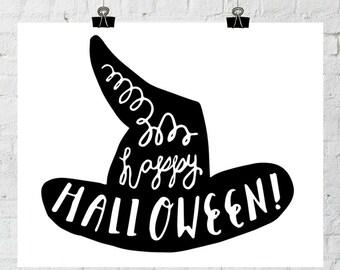 Halloween Party Decoration, Halloween Wall Art, Halloween Printable, Fall Wall Art, Halloween Decor, Happy Halloween, Instant Download Print