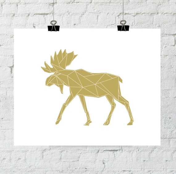 Woodland Animal, Moose Printable, Moose Art, Art Print, Geometric Moose, Wall Antlers, Antler Print, Animal Print, Moose, Digital Download