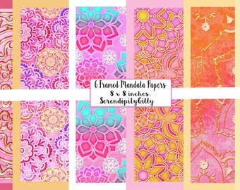 6 Framed Mandala Papers. 8 x 8 inches. (DOWNLOAD)