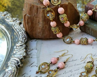 Rosey Pink and Brass Drop Earrings