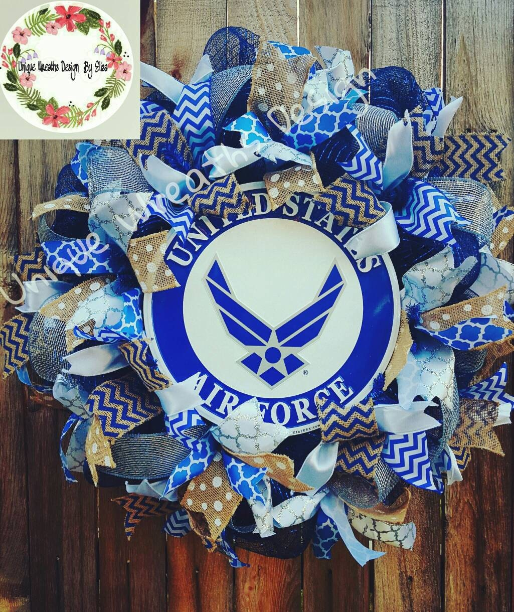 Usaf wreath air force mesh wreathair force wreath military for Air force decoration