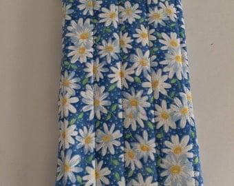 Blue Daisy print eye glass/pencil case