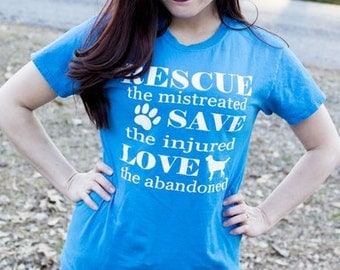 Gifts for Dog Lovers, T Shirt, Rescue, Save, Love, Dogs, Vinyl