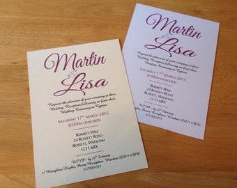 Calligraphy wedding invitations x 100