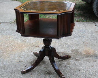 Vintage leather inlay accent table