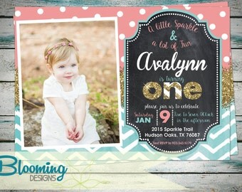 She Sparkles One Invitation - Birthday Party