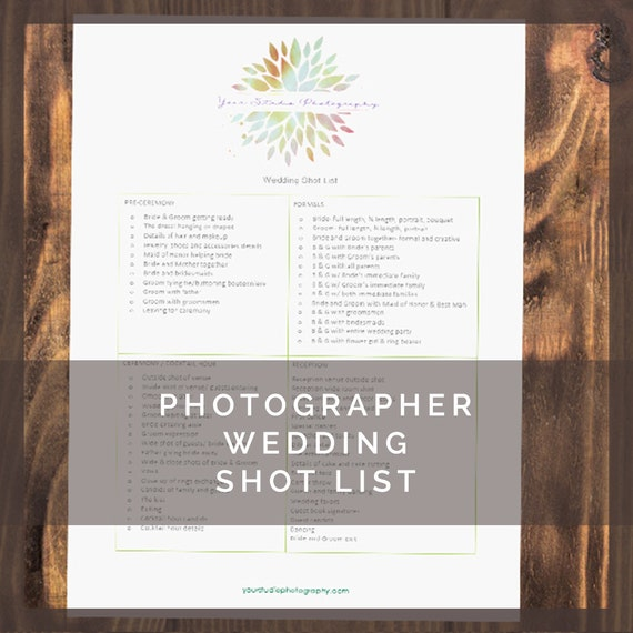 Printable wedding photography shot list for by lumedesign for Wedding shot list