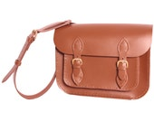 Satchel with Magnetic Catches Satchel Tan Leather Satchel Shoulder Bag
