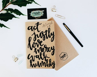 Micah 6:8 - Moleskine Kraft Journal, Hand-lettered, Modern Calligraphy, Prayer Journal