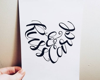 Personalized Calligraphy Heart Print