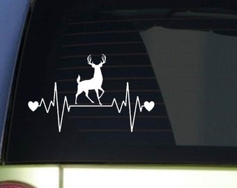 "Deer hunting heartbeat lifeline *I203* 8"" wide Sticker decal whitetail"