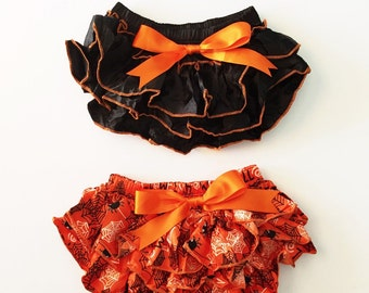 Baby Halloween Bloomers - Halloween Bloomers, Ruffle Bloomers, Fall Bloomers, Orange Bloomers, Black Bloomers, Baby Diaper Cover