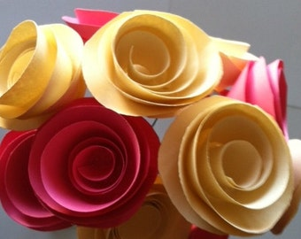 Ivory and  Pink Paper Roses with Stems One Dozen for Weddings Baby Bridal Showers Reception Home Decor All Colors Available Choose Any Two