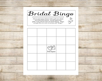 Bridal Bingo - Printable Wedding Shower Bingo Game- Bridal Shower Game - Wedding Bingo