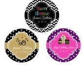 Birthday Personalized Stickers 24ct, Birthday Favor Label, Quinceanera, Sweet 16, 18th, 21st, 30th, 40th, 50th, 60th Birthday, Round Label