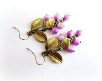Agate cluster earrings, stone cluster earrings, fuchsia earrings, stone dangle earrings, italian jewelry, autumn earrings