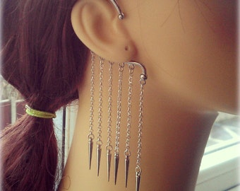 Spiked Ear Wrap - Silver Plated - No Piercings Required