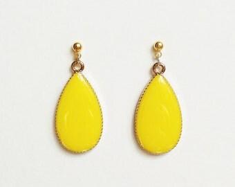 Teardrop Earrings, Canary Yellow Teardrop Earrings, Bright Yellow Earrings, Hypoallergenic, Bridesmaid, Resin Jewelry