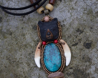 "pendant necklace bear totem animal ""Benny"""