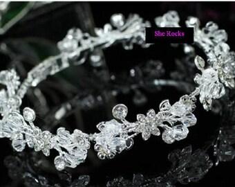 Crystal and diamante wedding bracelet, wedding cuff bracelet, Rhinestone and Crystal bracelet, flower bracelet, crystal bangle, bridal cuff