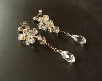AB SWAROVSKI crystal teardrop wedding earrings Sterling Silver long crystal bridal earrings Swarovski cluster earrings bridal jewelry gift