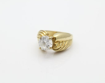 1980s Gold on Sterling Silver High Crown White CZ Solitaire Ring Sz 7. [5321]