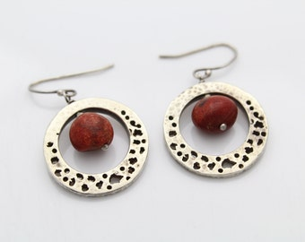 Sterling Silver and Red Shell Bohemian Chic Circle Dangle Earrings Artisan. [5452]