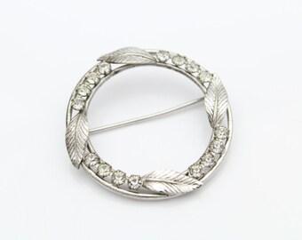 Vintage Sterling Silver and Rhinestone Wreath Leaves Brooch Carl Art. [5644]