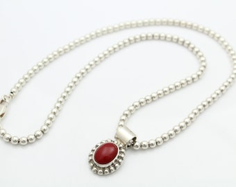 "Bold Red Sterling Silver 1980s Bead Chain Necklace 16"" Mexico 17g. [5809]"