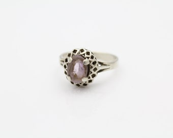 Vintage Ring with Openwork Basket and Amethyst in Sterling Silver Size 6.5. [9279]