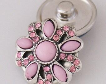 KB3507  Pink Enamel Flower with Pink Rhinestone Petals
