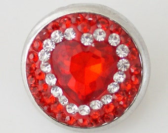 KB4270  Faceted Red Heart Set in Clear and Red Crystals