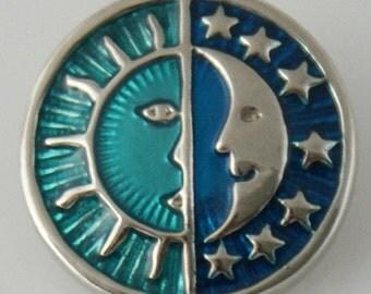 KB6006 Silver Sun/Moon on a Blue Enamel Background
