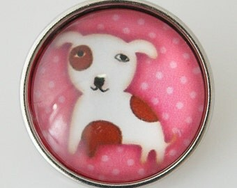 KB2722-N Art Glass Print Chunk - Pink Puppy w/Polka Dots