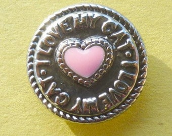 KB5152-2  I Love My Cat Snap It Charm with Pink Enamel Heart Inside