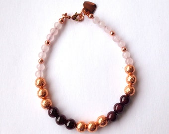 Rose Quartz Garnet Bracelet with Solid Copper, Mixed Gemstone Beads, Simple Bracelet