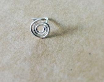 Silver nosering-spiral-Sterling silver spiral nose ring