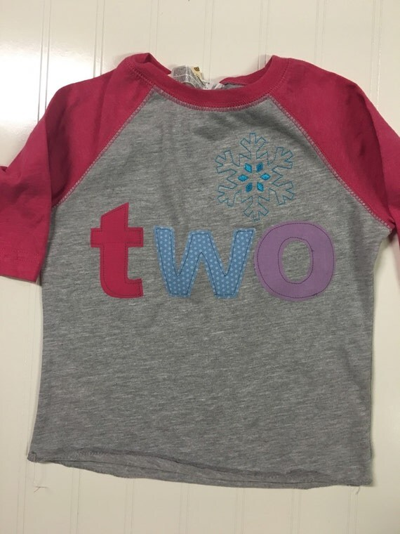 Girls snowflake birthday shirt, two birthday shirt, frozen birthday shirt, girls clothes, raglan pink shirt, ice birthday, girls winter m