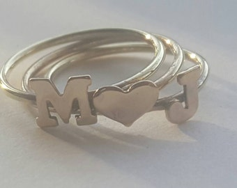 Varsity letters stacking rings/Nu gold initial stacking rings set of 3