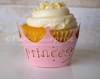 Princess Cupcake Wrappers Princess Party Decorations Princess Straws Girl Princess Party Cupcake Wrappers Pink Princess
