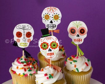 Cupcake Toppers Halloween Skull Skeleton Walking Dead Spooky Halloween Party Decorations Cake Cupcake Halloween Toppers