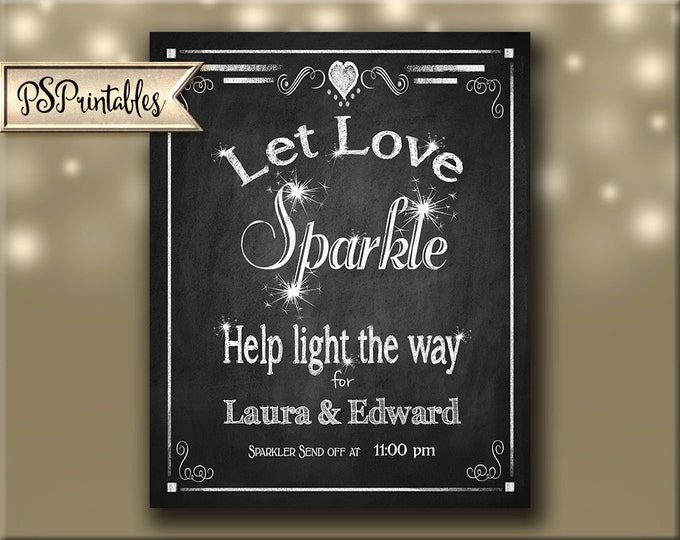 DIY Personalized Let Love Sparkle - Sparkler send off sign - chalkboard sign - 2 sizes - custom made with bride & groom names and time