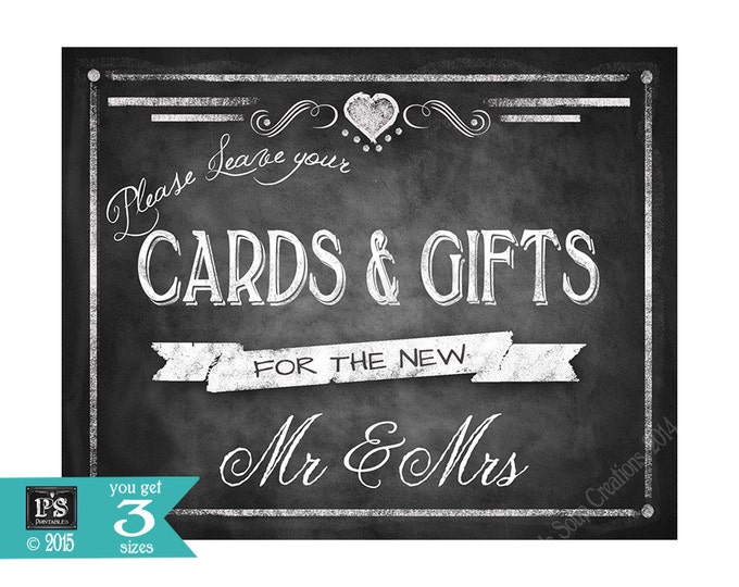 Printable Wedding Chalkboard CARDS & GIFTS sign - 5x7, 8x10 or 11 x 14 - instant download digital file - DIY - Rustic Heart Collection