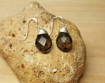 Brown Smoky Quartz earrings. 925 sterling silver. Drop earrings. Dangle earrings. Reiki jewelry uk. 18x12mm stones