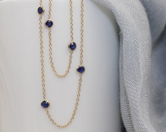14k solid gold blue sapphire by the yard necklace station necklace